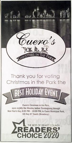 Cuero Record Award Thank-you Ad