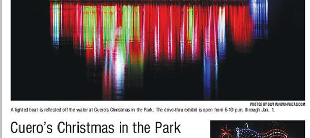Cuero's Christmas in the Park front-page feature in December 22nd, 2020 issue of The Victoria Advocate